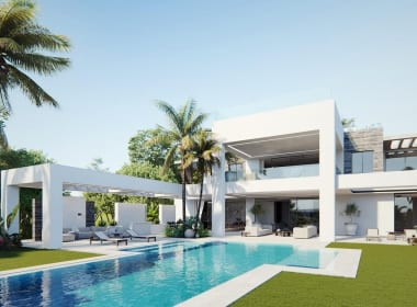 Flamingos-130-villas-new-golden-mile-estepona-new-build-for-sale-Marbella-Callow-estates-Costa-del-Sol-properties-garden-pool